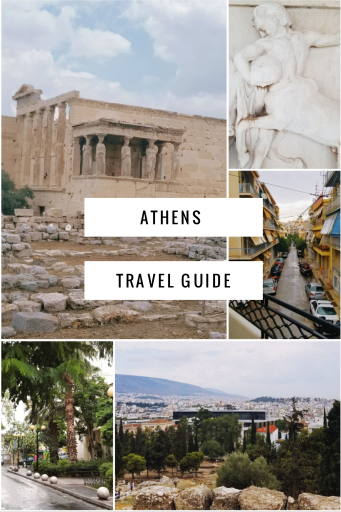 Athens Travel Guide with photos of the Temple of Athena, the Acropolis Museum, and the Plaka neighborhood
